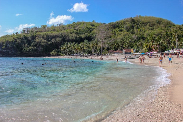 Clear waters of Crystal Bay Beach on Nusa Penida, Bali, Indonesia