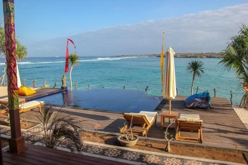Infinity pool at waterfront Nusa Veranda Sunset Villas on Nusa Ceningan, Bali, Indonesia