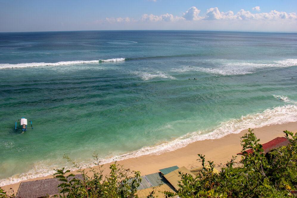 Blue water at Padang Padang Thomas Beach in Uluwatu, Bali, Indonesia