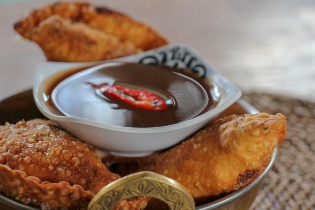 Fried somosas at Tigerlilys restaurant on Nusa Lembongan, Bali, Indonesia