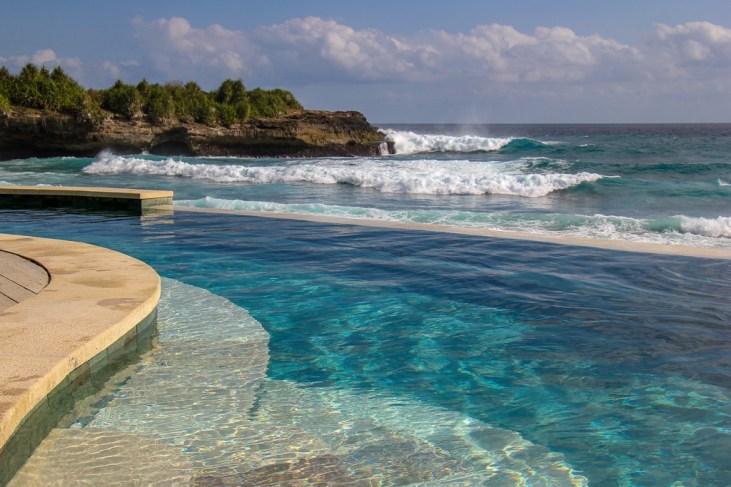 Infinity pool at Sandy Bay Beach Club on Nusa Lembongan, Bali, Indonesia