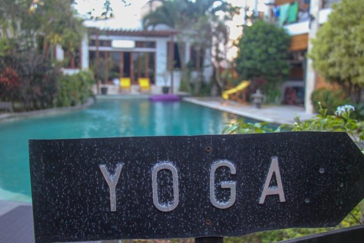 Yoga sign at the Ecosfera Hotel in Canggu, Bali, Indonesia
