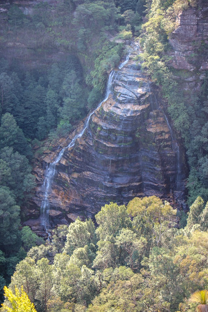 View of Bridal Veil Falls at lookout point in Blue Mountains NP in Sydney, Australia