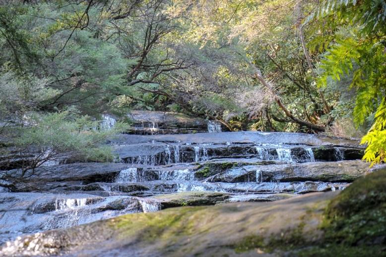 Leura Cascades tumbling waterfall at Blue Mountains National Park in Sydney, Australia
