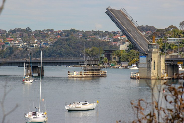Spit Bridge open for watercraft in Sydney, Australia