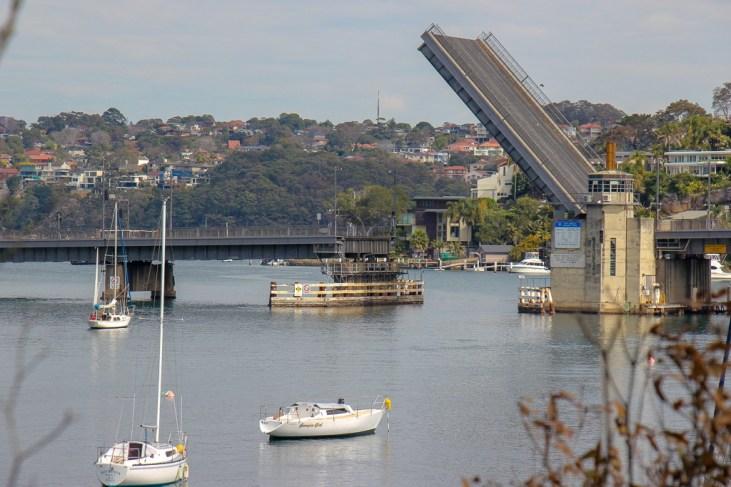 Spit Bridge open for watercraft in Sydney, Australia