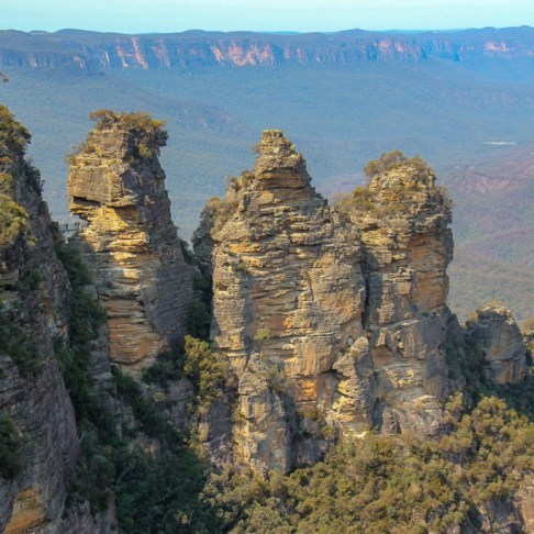 Three Sisters rock formation from Echo Point at Blue Mountains National Park in Sydney, Australia