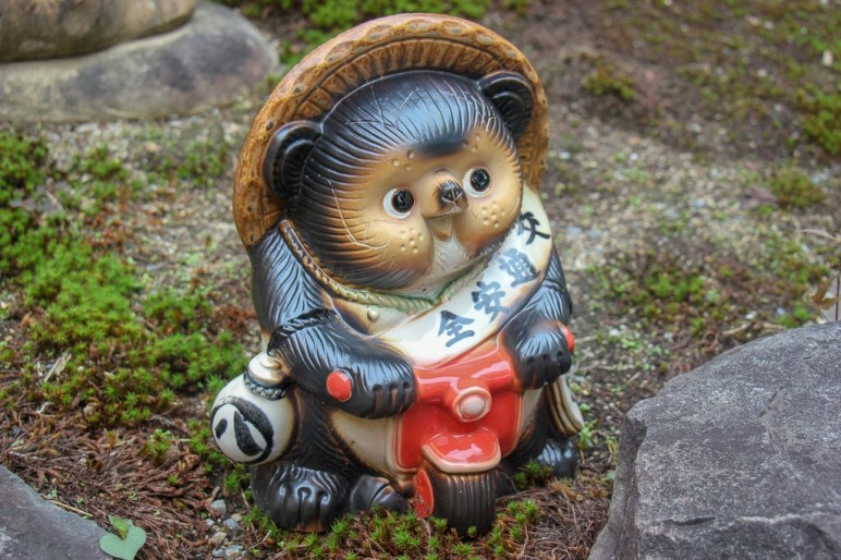 Tanuki Statue at Adashino Nenbutsuji Temple in Kyoto, Japan