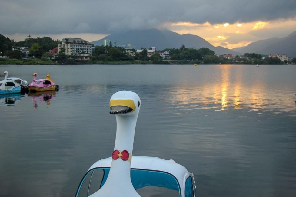 Duck boat at sunset on Kawaguchiko, Japan