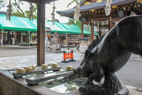Sculpture of pig at Go'o Shrine in Kyoto, Japan