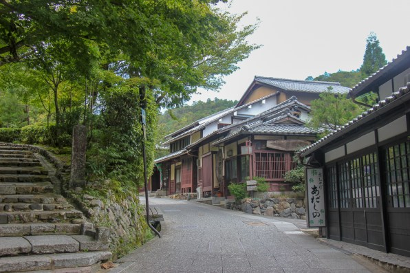 Historically preserved Saga Toriimoto Street in Arashiyama in Kyoto, Japan