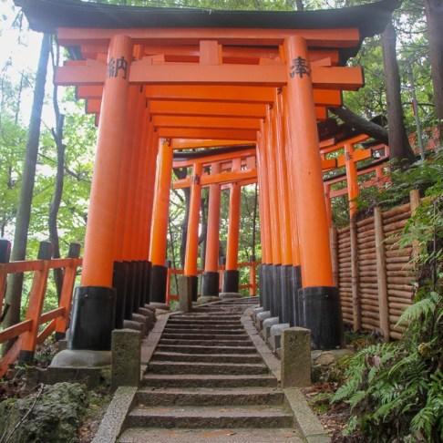 Red torii gates at Fushimi Inari Taisha shrine in Kyoto, Japan