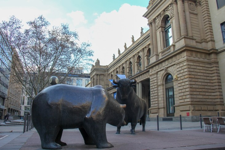 Bear and Bull statues in front of Borse Stock Exchange in Frankfurt, Germany