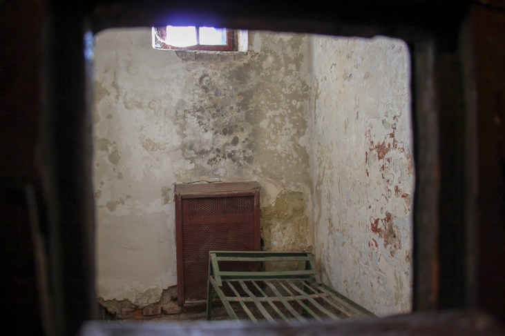 Prison cell at the Lonsky Prison Museum in Lviv, Ukraine