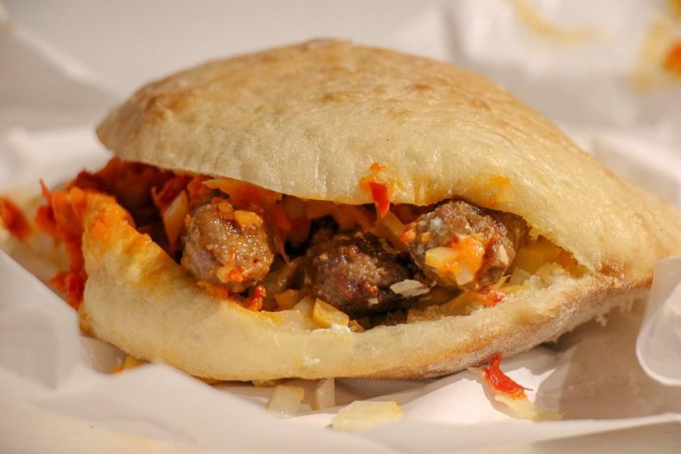 Cevapcici sandwich from Kantun Paulina in Split, Croatia