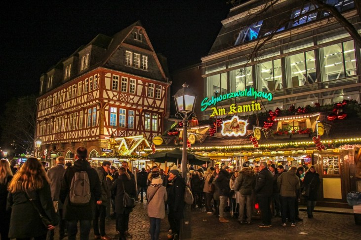 Festive holiday lights and market stalls in Romerberg in Frankfurt, Germany