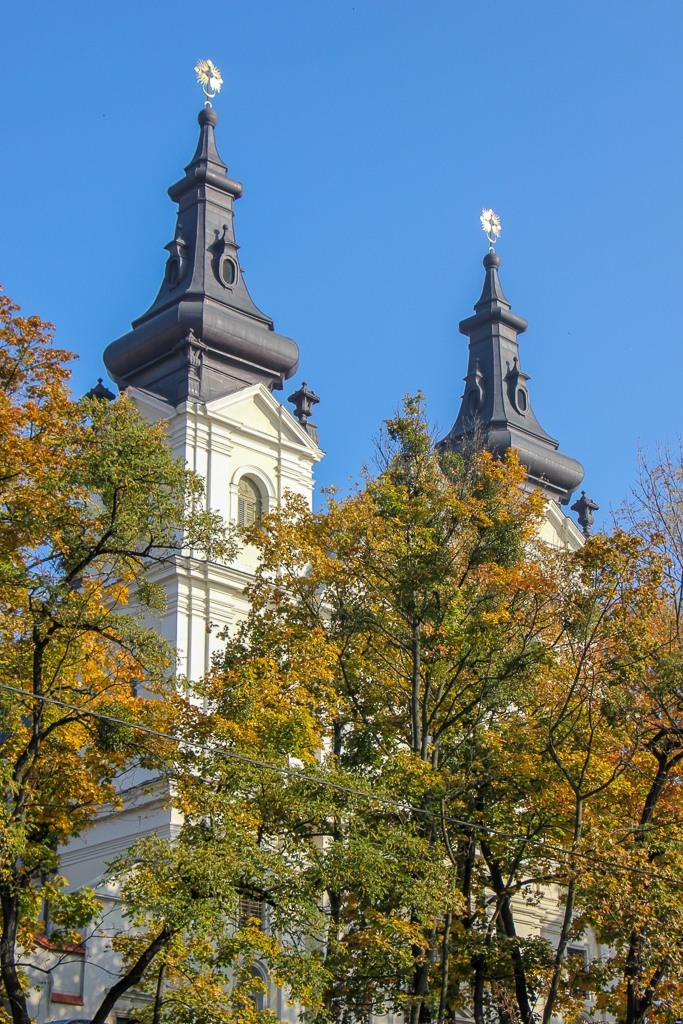Spires of the Church of St. Michael the Archangel in Lviv, Ukraine