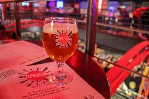 Glass of craft beer at Pravda Beer Theater in Lviv, Ukraine