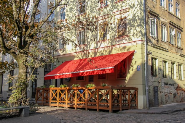 Patio at the Drunken Duck Bar in Lviv, Ukraine