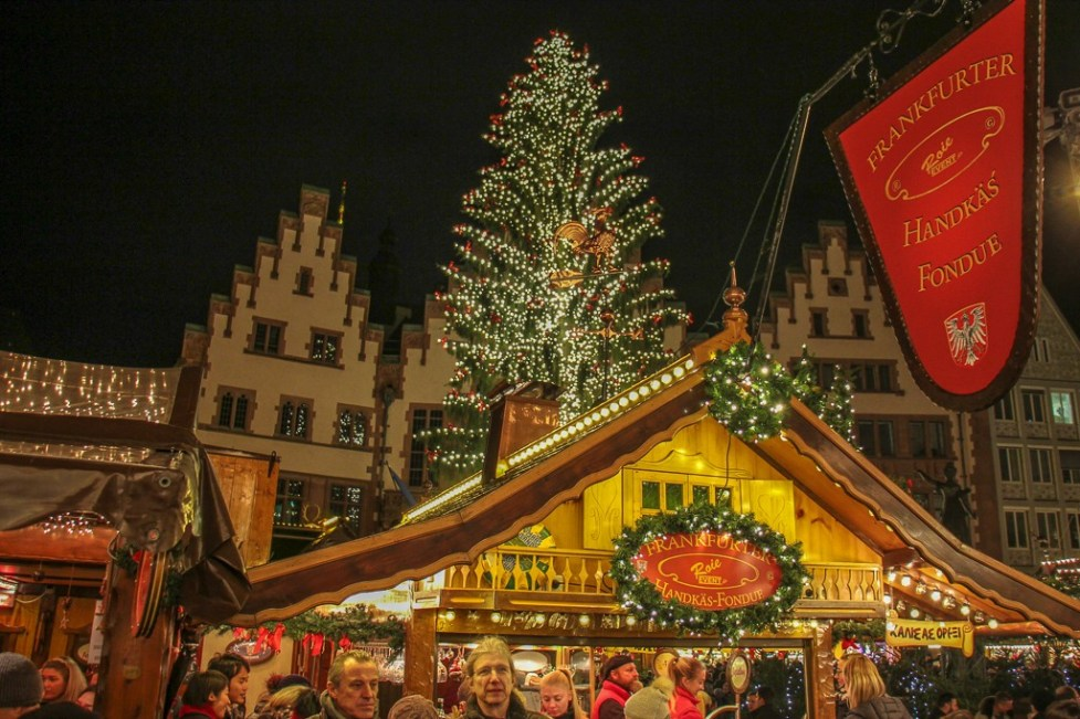 Market stalls and Christmas Tree on Romerberg main square in Frankfurt, Germany
