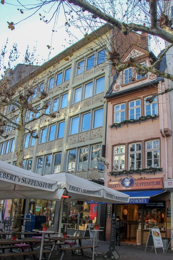 Fressgass Grazing Street lined with mixed architecture and high-end shops in Frankfurt, Germany
