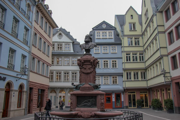 Fountain on square in New Old Town in Frankfurt, Germany