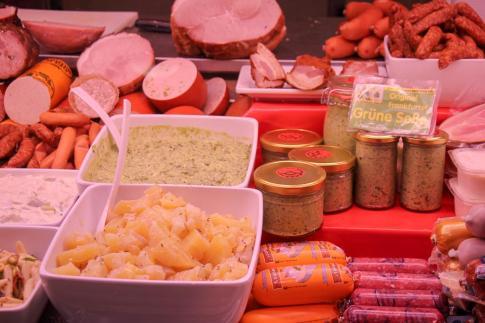 Deli food for sale at Kleinmarkthalle in Frankfurt, Germany