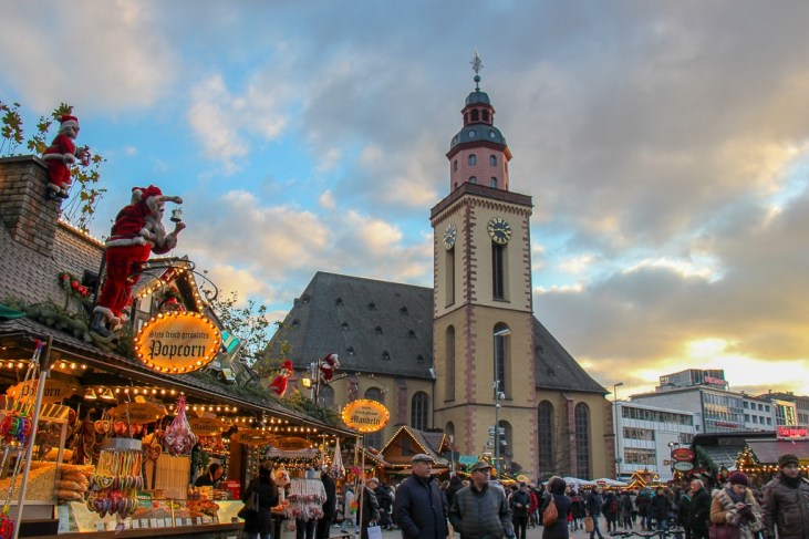 Hauptwache Square and St. Catherine's Church in Frankfurt, Germany