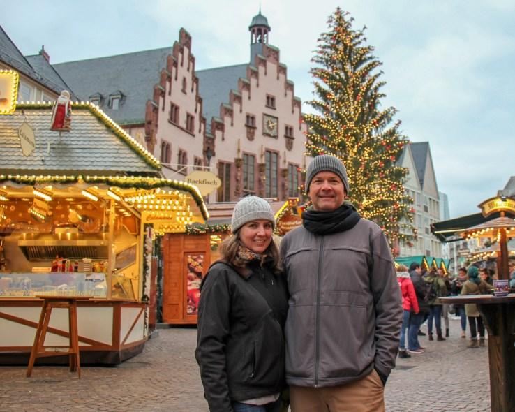 Sarah and Kris of JetSettingFools.com at Frankfurt Christmas Market in Frankfurt, Germany