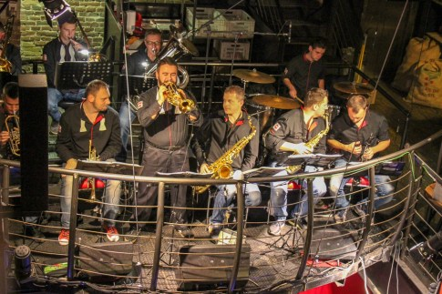 Pravda Orchestra plays at Pravda Beer Theater in Lviv, Ukraine