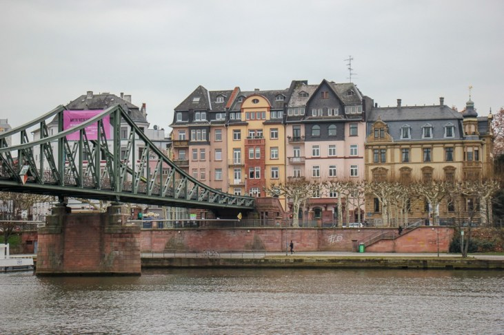Main River and Eiserner Steg Iron Bridge in Frankfurt, Germany