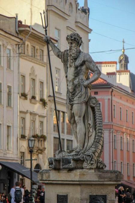 Statue of Neptune in Rynok Square in Lviv, Ukraine