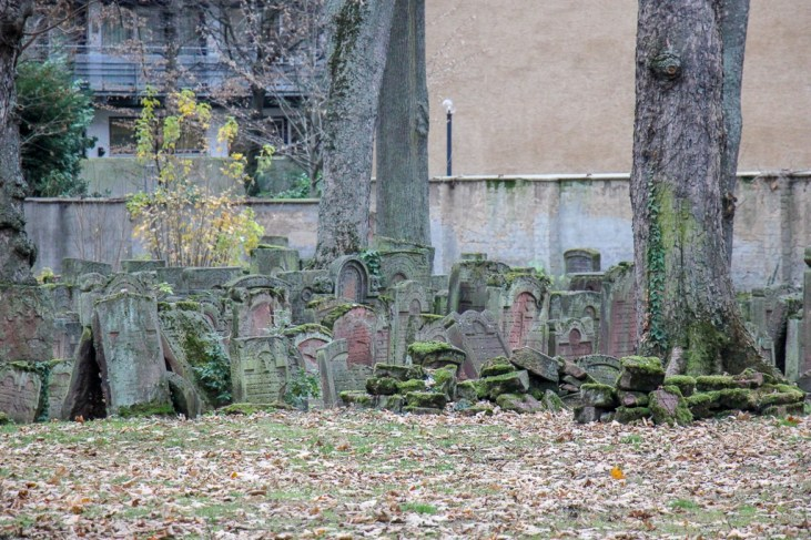 Gravestones in the Old Jewish Cemetery in Frankfurt, Germany