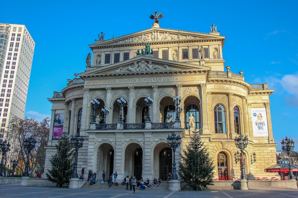 View Outside The Old Opera House in Frankfurt, Germany
