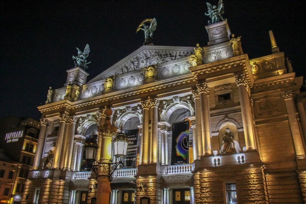 The Opera House illuminated at night in Lviv, Ukraine