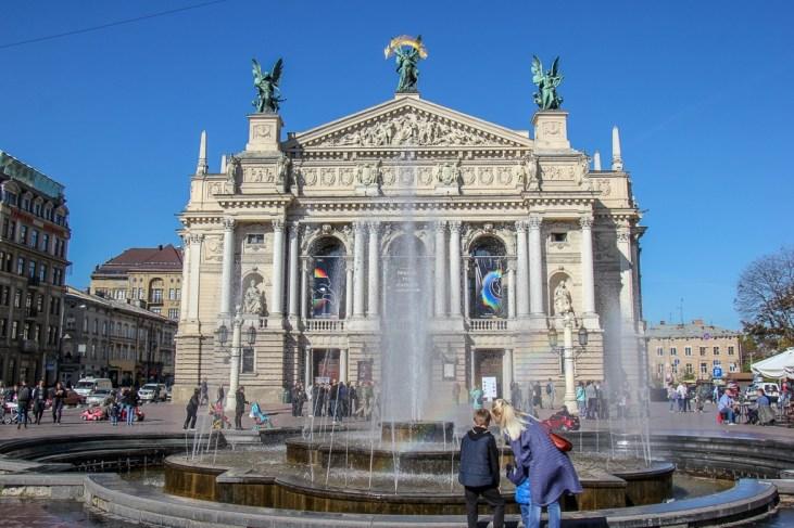 Opera House and fountain in Lviv, Ukraine
