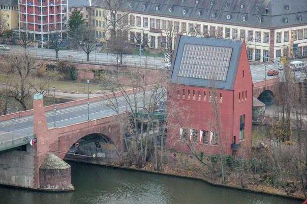 Portikus Museum and Old Bridge in Frankfurt, Germany