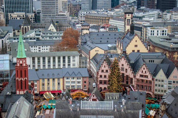 View of Romerberg Square from Cathedral bell tower in Frankfurt, Germany