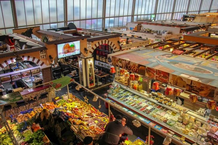 Vendor stalls at Kleinmarkthalle in Frankfurt, Germany