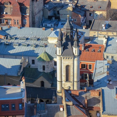 Looking down at the Armenian Church from the Town Hall Clock Tower viewing platform in Lviv, Ukraine