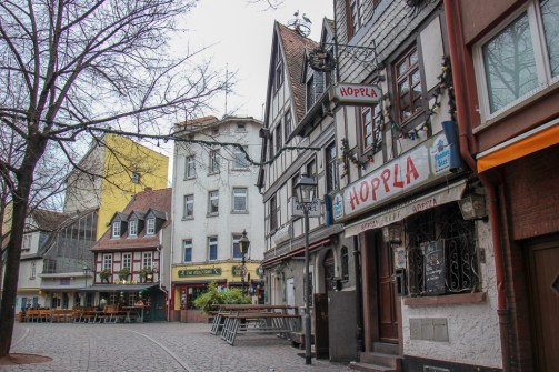 Historic lane in Old Sachsenhausen district in Frankfurt, Germany