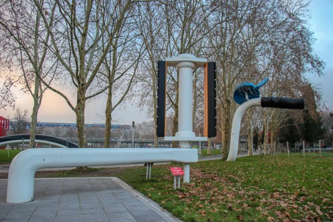 Large bike art installation at Park La Villette in Paris, France