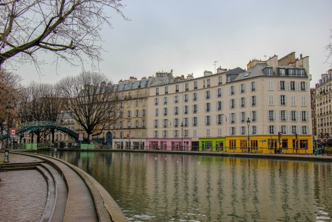 Colorful buildings along Canal Saint Martin in Paris, France