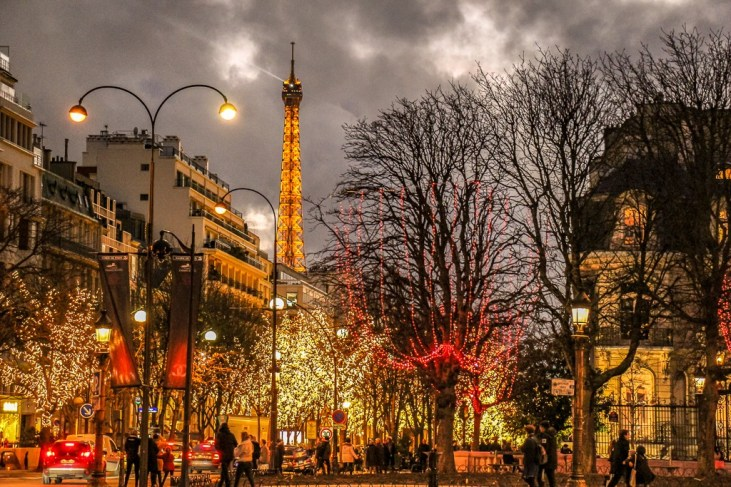 Eiffel Tower and Christmas lights in Paris, France