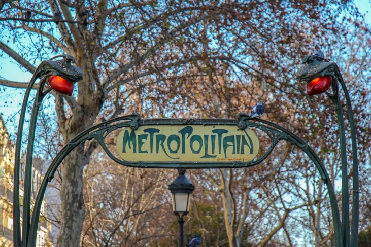 Old Metropolitan subway sign in Paris, France