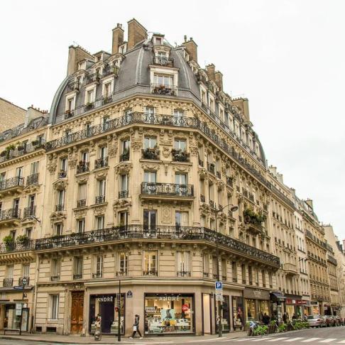 Classic Paris architecture on street corner in Paris, France