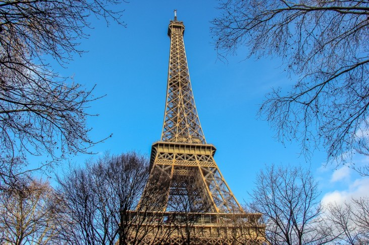 Looking up the Eiffel Tower in Paris, France