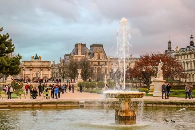 Fountaiin at Tuileries Garden in Paris, France