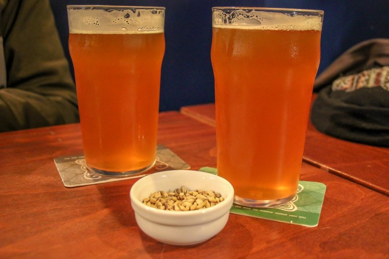 Two pints of beer at Hoppy Corner Craft Beer Bar in Paris, France
