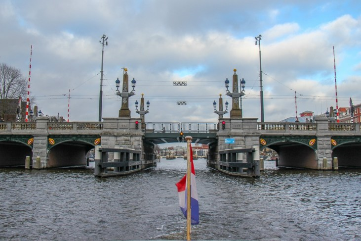 View of Blue Bridge from Amstel River, Amsterdam